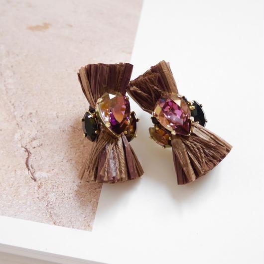 thread pierce /earrings BROWN