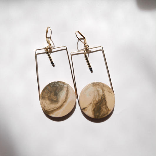 marble circle square pierce#earrings BEIGE