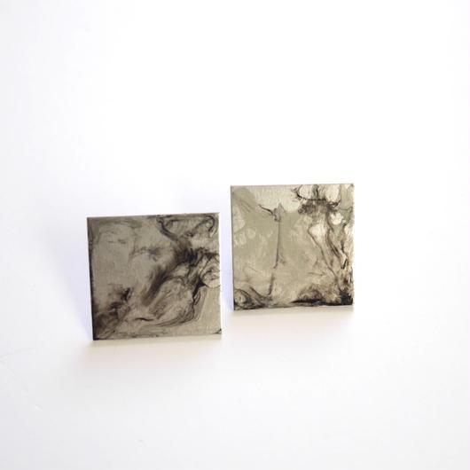 marble シカク pierce/earrings BLACK
