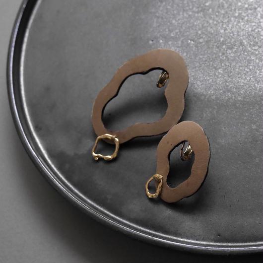 cell  leather pierce/earrings BEIGE