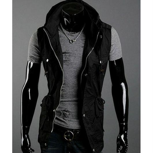 ベスト メンズ ジャケット ミリタリー ブルゾン パーカー ベスト きれいめ ブラック