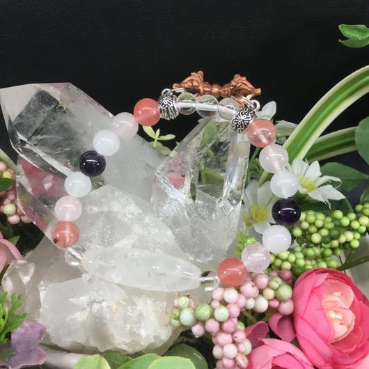 龍天珠形水晶と愛の石たちと五鈷杵 ブレス 女性用