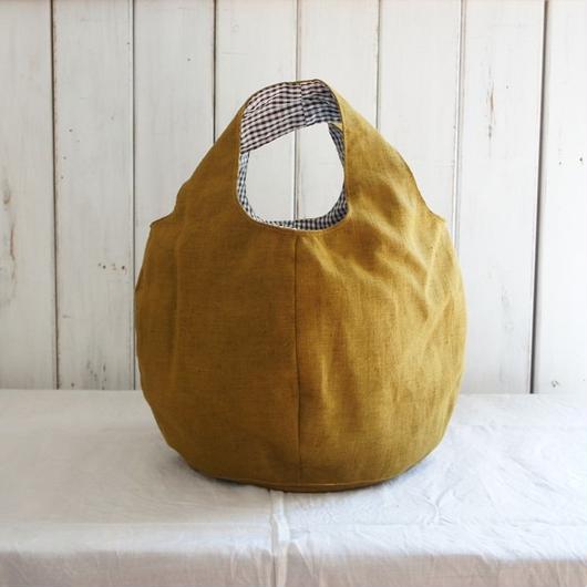 巾着付きの丸いバッグ  (マスタードイエロー)