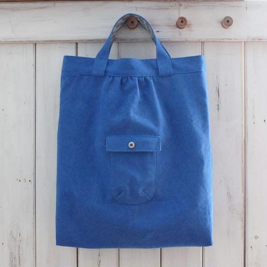 レトロな帆布バッグ(縦型・ブルー)