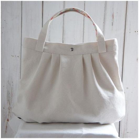 レトロな帆布バッグ(ホワイト×ピンク)