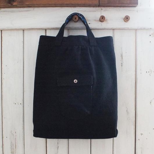 レトロな帆布バッグ(縦型・ブラック)