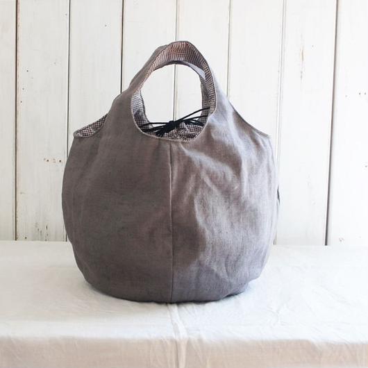 巾着付きの丸いバッグ  (ライトブラウン)