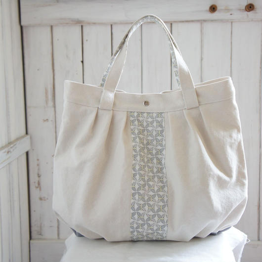 レトロな帆布バッグ(ホワイト×ホワイト)