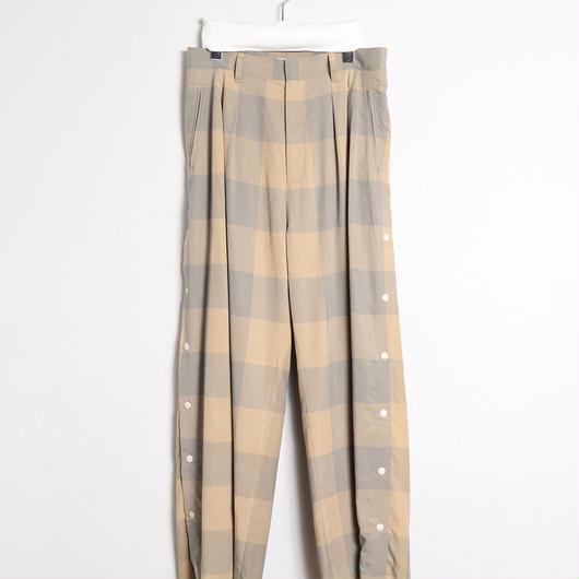 [18 S/S 予約商品] BLOCK CHECK TENCEL SIDE OPEN PANTS