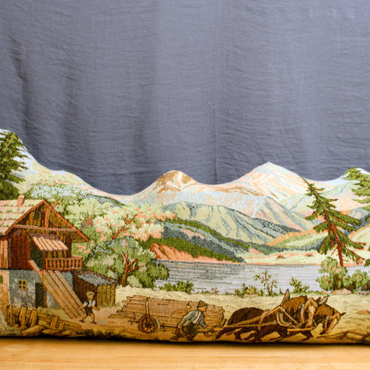 RUG CUSHION (Scenery with mountain huts)