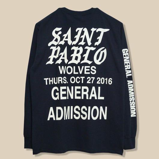 「SAINT PABLO TOUR」WOLVES LONG SLEEVE T-SHIRT / BLACK (送料込み)