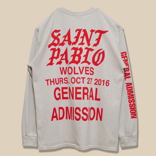 「SAINT PABLO TOUR」WOLVES LONG SLEEVE T-SHIRT / SAND (送料込み)