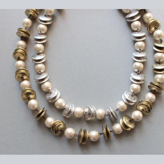サークル&コットンパールロングネックレス|Circle&CottonPearl Long Necklace 73cm