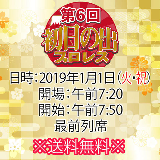【チケット】1月1日(火・祝)第6回初日の出プロレス 最前列席※送料無料