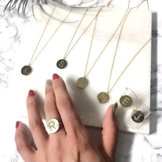 イニシャルネックレス&リングセット