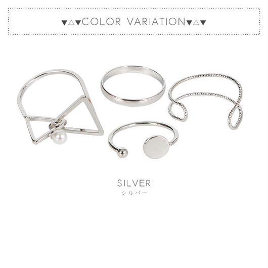 4本1セット!シンプルモチーフデザインリング指輪