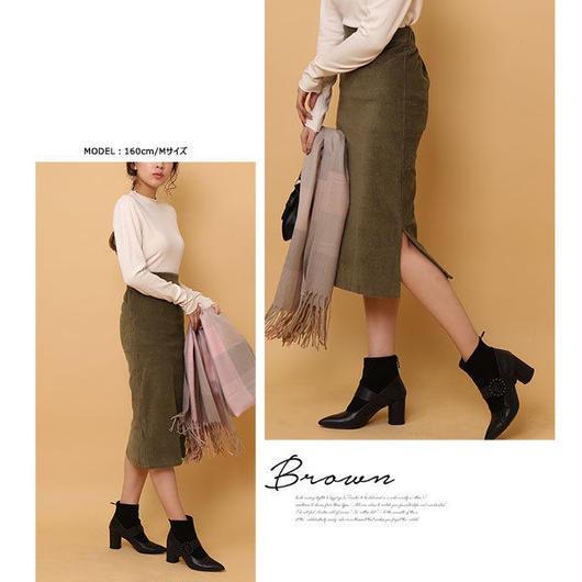 【レディース】サイドスリットコーデュロイタイトスカート 全3色
