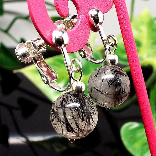 天然石 イヤリング ブラックルチルクォーツ 黒針水晶