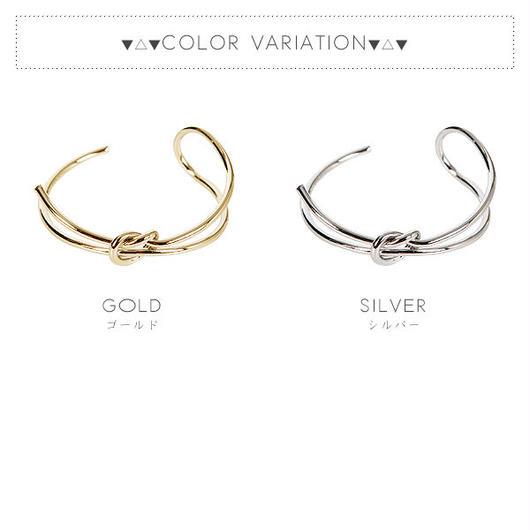 【ブレス】全2色!メタル結びデザインブレスレットバングル