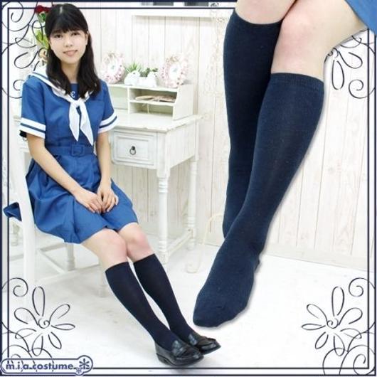 綿混 スクール平編みハイソックス 色:紺 サイズ:22~25cm
