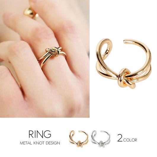 【リング】全2色!メタル結びデザイン指輪