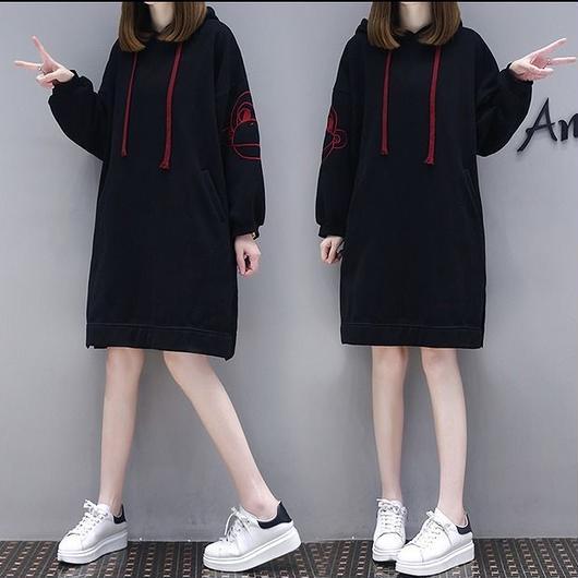 【秋冬新作】裏起毛ファッショントップス ブラック