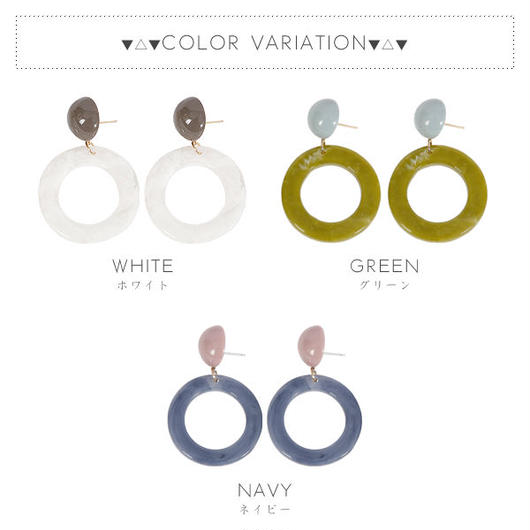 【ピアス】全3色!カラフルリングデザインピアス