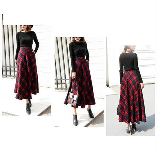 【レディース】チェックフレアロングスカート 全3色