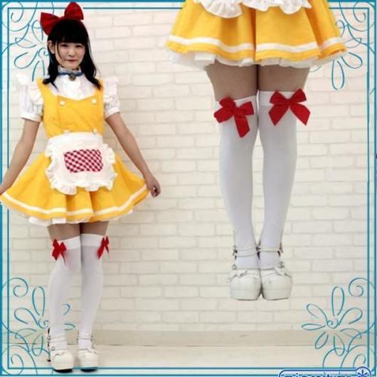 リボン付きニーハイ 色:白×赤リボン サイズ:フリー
