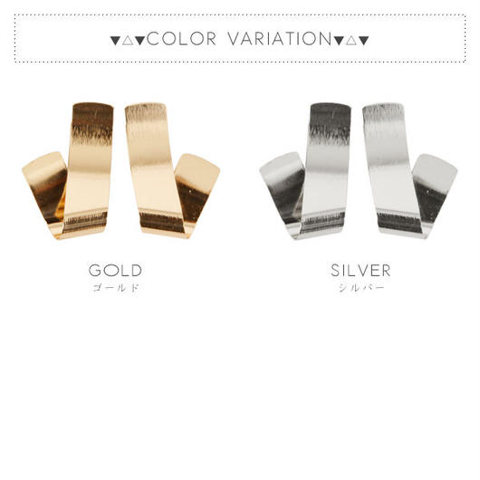 【ピアス】全2色!メタルプレートフォールドデザインピアス