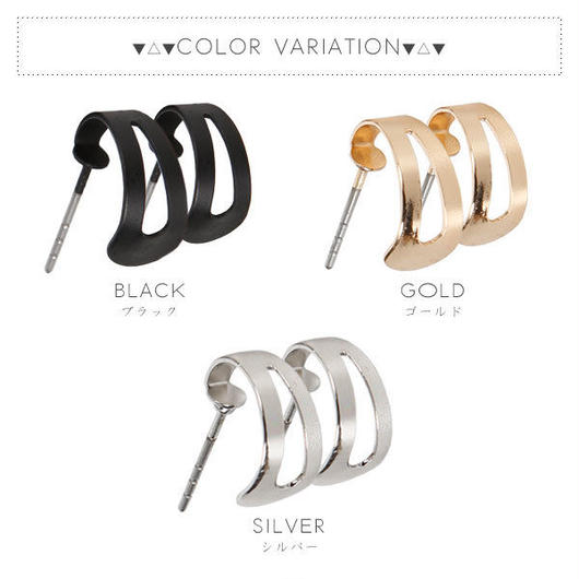 【ピアス】全3色!!メタルカーブフレームデザインピアスイヤリング