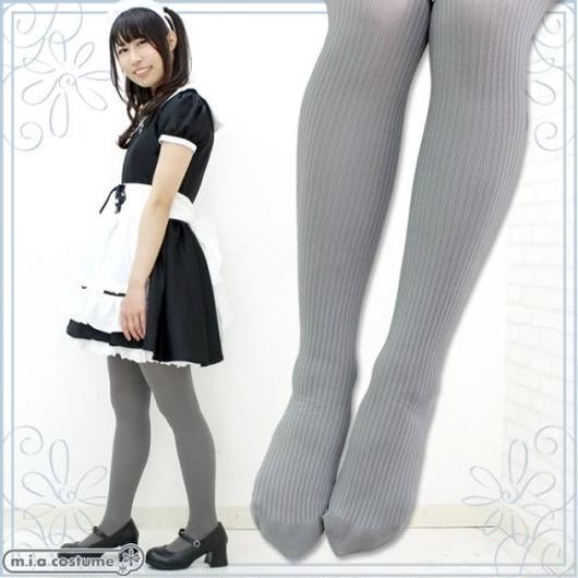 日本製・国産80デニールリブタイツ 色:グレー サイズ:M-L