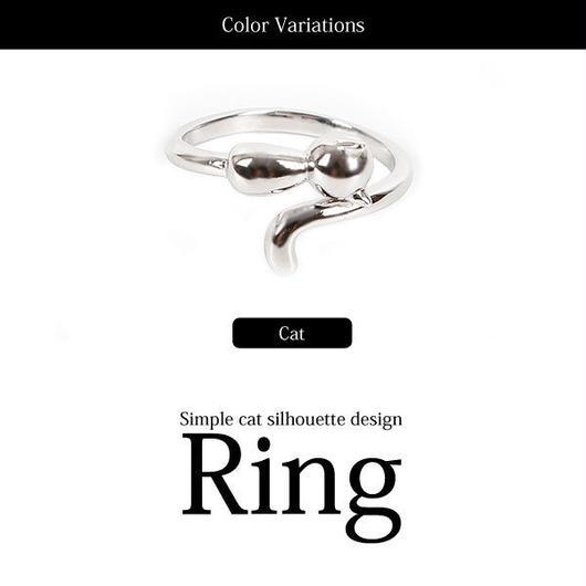 シルバーフリーサイズ!!シンプルキャットデザインリング指輪