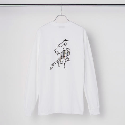 "Long Sleeve Tee ""Shopping Girl"" White"
