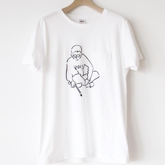 T-shirt Border Line    -White-