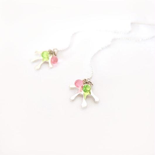 純銀製『ぱぁピアス』ピンク系