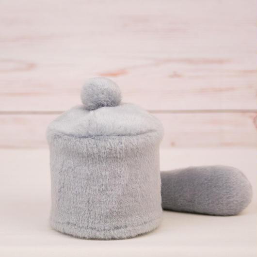ペット用骨壺カバー / サイズ:3寸 / ベース:グレー / ボンボン:グレー / しっぽ:グレー(S036)