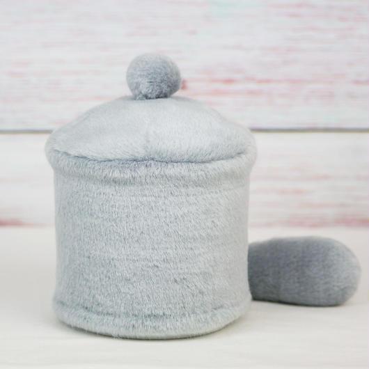ペット用骨壺カバー / サイズ:4寸 / ベース:グレー / ボンボン:グレー / しっぽ:グレー(S166)