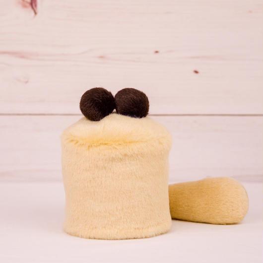 ペット用骨壺カバー / サイズ:3寸 / ベース:クリーム / ボンボン:ダークブラウン・ダークブラウン / しっぽ:クリーム(S003)