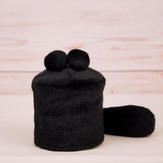 ペット用骨壺カバー / サイズ:3寸 / ベース:黒 / ボンボン:黒・黒 / しっぽ:黒(S078)