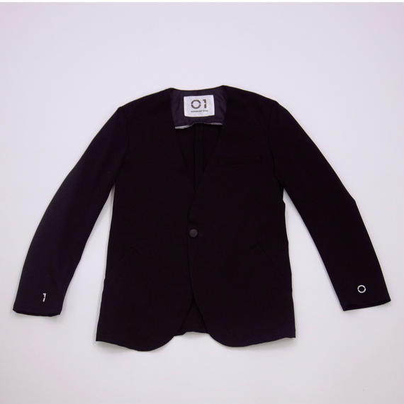 No Collar Jacket (BLACK×WHITE)