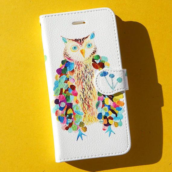 【受注生産】手帳型iPhoneケース:ふくろうと森