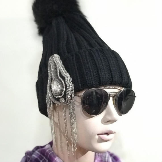 KNIT CAP【Black Pon pon 】