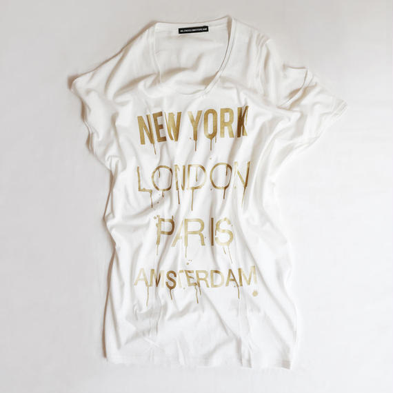 4U_PARISAMSTERDAM 【アシメトリーワンピース  JET SETTER】White/Gold