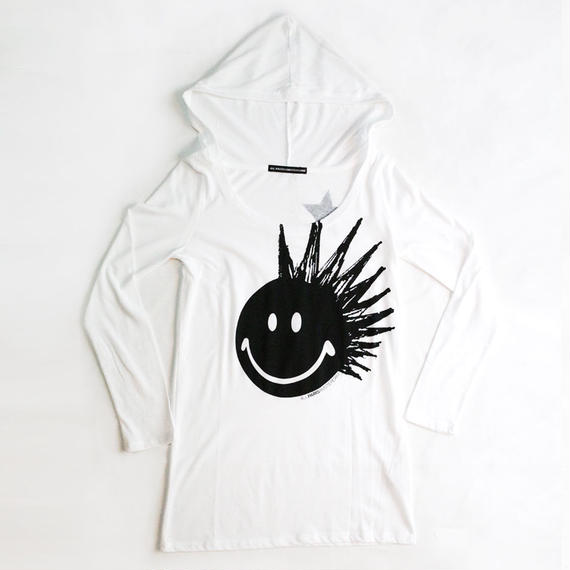 4U_PARISAMSTERDAM 【フードTシャツ BIG PUNK SMILE】White/Black
