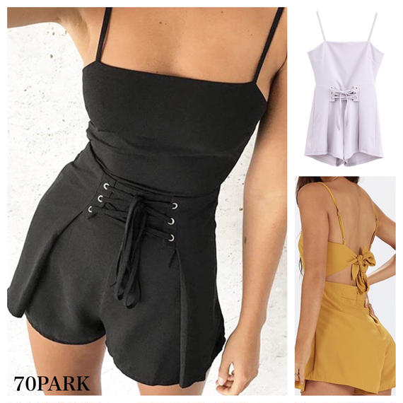 #Lace Up Back Bow Solid Romper バックリボン レースアップ ロンパース 全2色 リゾート