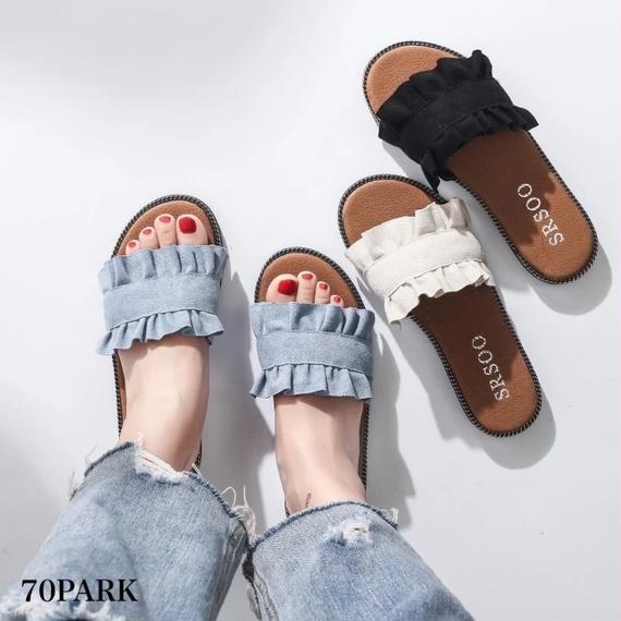 #Frill  Flat Sandals フリル フラット スリッパ サンダル  全3色 ペタンコ