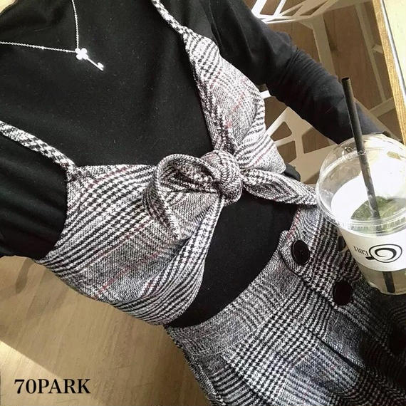 #Glen Checked Skirt Set グレンチェック柄 リボンビスチェ×スカート 2点 セット グレー