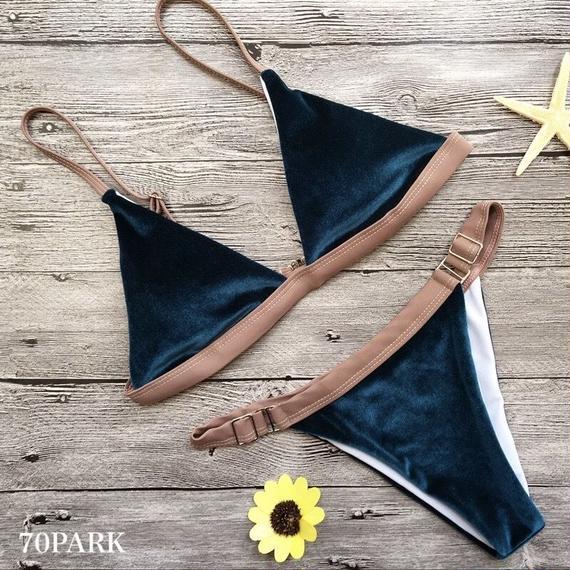 #Triangl Velvet Bikini ベロア トライアングル ビキニ 水着 ピーコック スイムスーツ  三角ビキニ