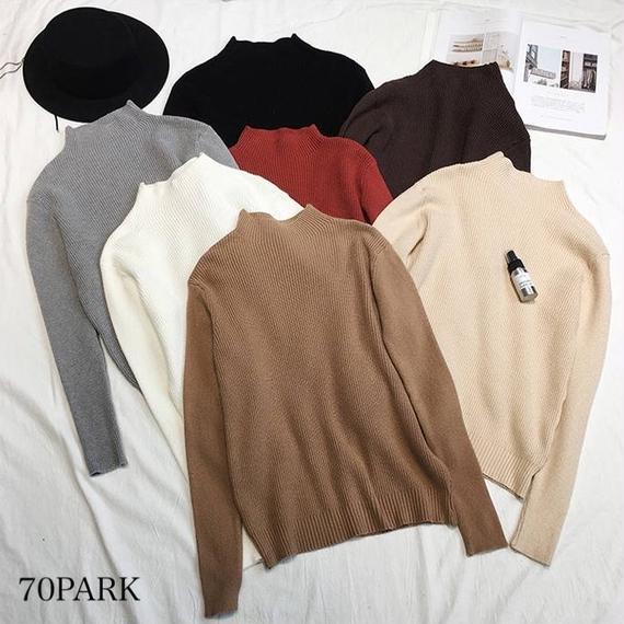 #Mock Neck Long Sleeve Knit モックネック シンプル リブ ニット 全7色